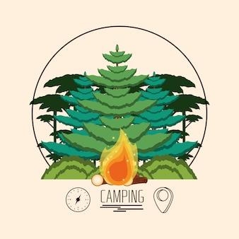 Зона кемпинга с деревьями и огнем