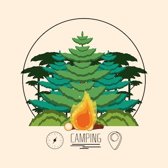 Camping zone with trees plant and fire wooden