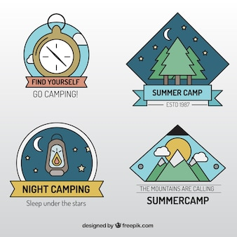 Campsite badges in lineal style
