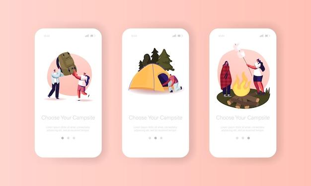 캠프장 모바일 앱 페이지 온보드 화면 템플릿. 친구 캐릭터는 텐트가 있는 깊은 숲의 여름 캠프에서 시간을 보냅니다.