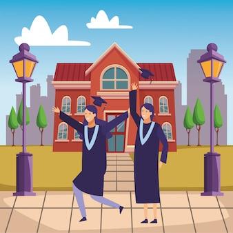выпускной кампус празднование девушки