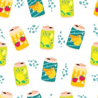Can of cute kawaii lemon strawberry banana soda seamless pattern lemonade