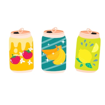 かわいいカワイイレモンストロベリーバナナソーダレモネードの缶は、アルミニウムのリサイクル可能な瓶に入っています