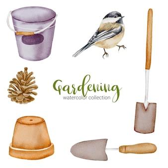 缶、松の実、鍋、鳥、シャベル、スペード、庭をテーマにした水彩風のガーデニングオブジェクトのセット。