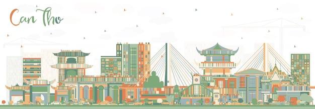 Кантхо вьетнам на фоне линии горизонта с цветными зданиями. векторные иллюстрации. деловые поездки и концепция туризма с исторической архитектурой. город кантхо с достопримечательностями.