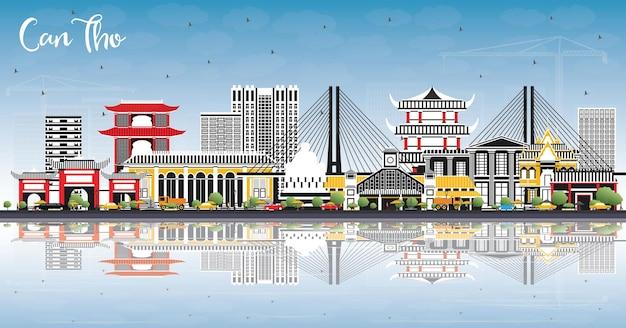 Горизонты города кантхо вьетнам с серыми зданиями, голубым небом и отражениями. векторные иллюстрации. деловые поездки и концепция туризма с исторической архитектурой. город кантхо с достопримечательностями.