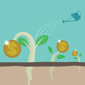 씨앗 머니 트리를 물을 수 있습니다. 비즈니스 및 금융 개념 벡터