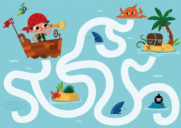Can you help the little pirate to find the treasure on an island maze game for kids