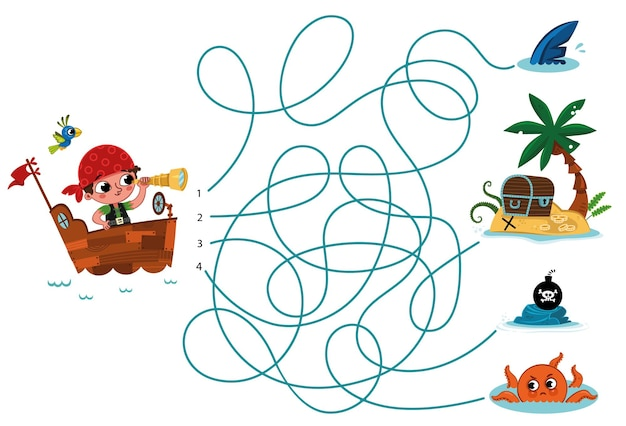 Can you help the pirate to find his treasure vector puzzle for kids