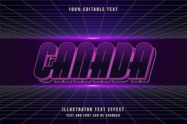 カナダ、3 d編集可能なテキスト効果青いグラデーションモダンな未来派の影のスタイル