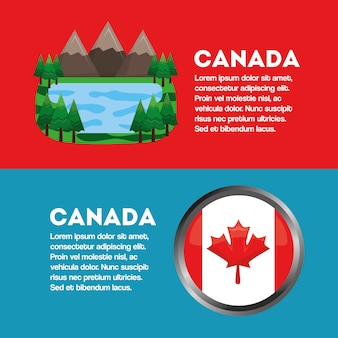 Canada banner flag and landscape mountains and lake