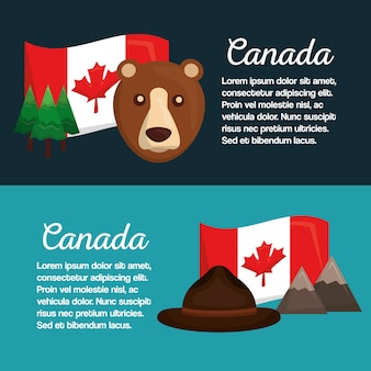 Canada banners flag bear hat mountain pine tree