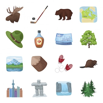 Канада мультфильм установить значок. путешествие канадца. изолированный мультфильм набор значок канады.