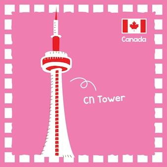 귀여운 스탬프 디자인으로 캐나다 cn 타워 랜드마크 그림