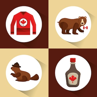 Canada collection bear beaver jersey and maple syrup