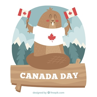 Canada day background with beaver