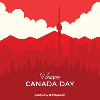 都市景観のあるカナダの日の背景