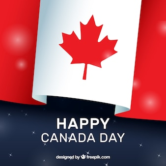 Canada day background with flag and shiny shapes