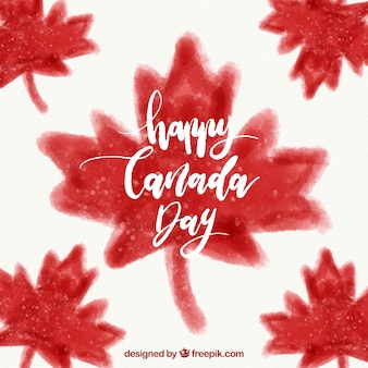 Canada day background with watercolor leaves