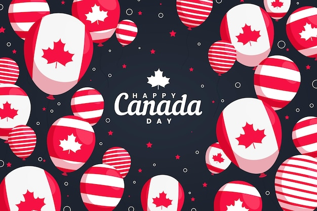 Canada day balloons background with maple leaves