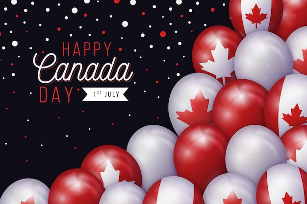 Canada day balloons and confetti background