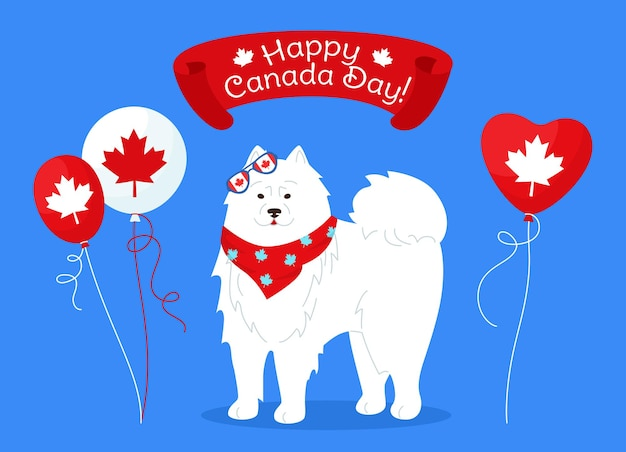 Canada day card dog with flag, balloon, cartoon style funny white antarctical patriotic pet