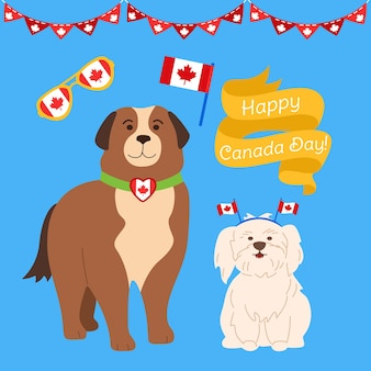 Canada day cartoon set. funny patriotic dogs canadian flag balloon, ribbon, glasses, garland bunting