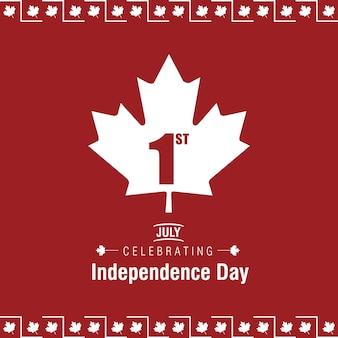 7月1日ハッピーカナダの日カナダの旗が赤い背景に