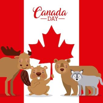 カナダの日の旗の背景