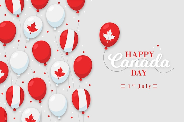 Canada day flat design background with balloons