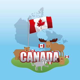 Canada day grunge map grass animals holding flags celebrate