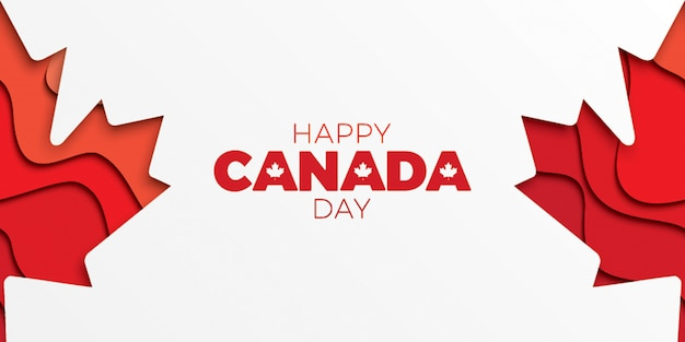 Canada day horizontal banner template with text and paper cut colorful maple leaves.