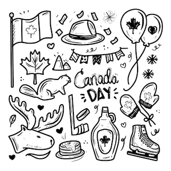 Canada day icon doodle drawing   set collection