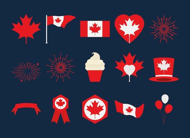 Набор иконок день канады