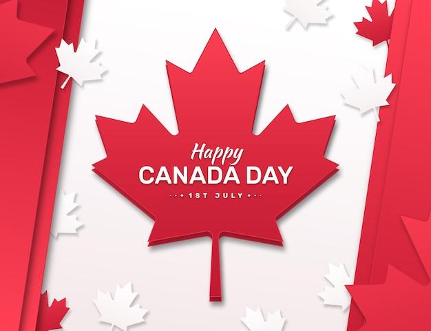 紙のスタイルでカナダの日のイラスト