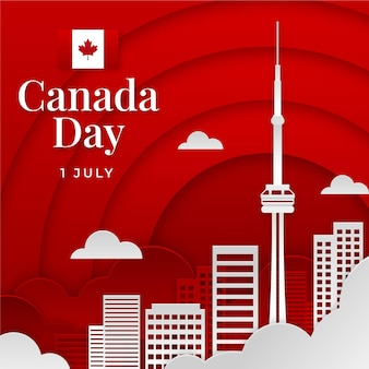 Canada day illustration in paper style