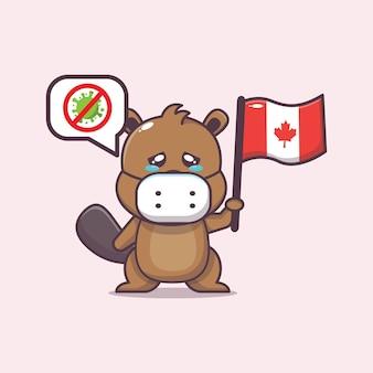 かわいいビーバーストップウイルスとカナダの日のイラスト
