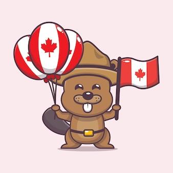 かわいいビーバーとカナダの日のイラスト