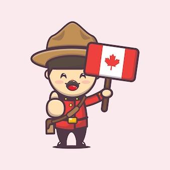 かわいいキャラクターとカナダの日のイラスト
