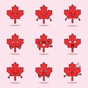 かわいいカエデの葉のキャラクターとカナダの日のイラスト