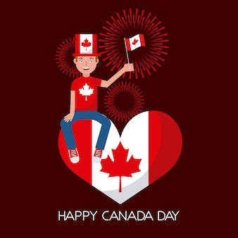Canada day man sitting holding flag in heart red fireworks
