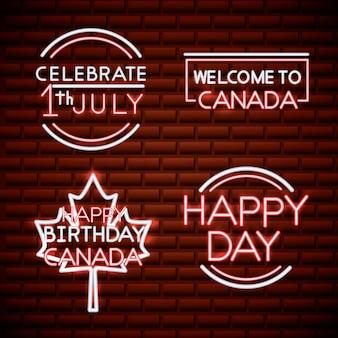 Canada day neon stickers