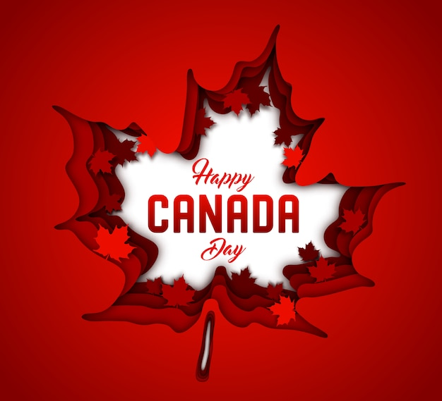 Canada day. paper art of red canadian maple leaves