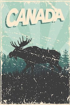 Canada day poster with moose silhouette