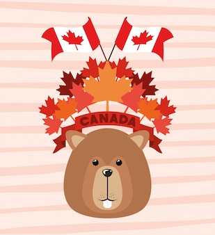 Canada day with beaver and maple leaf