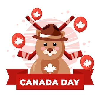 Canada day with beaver