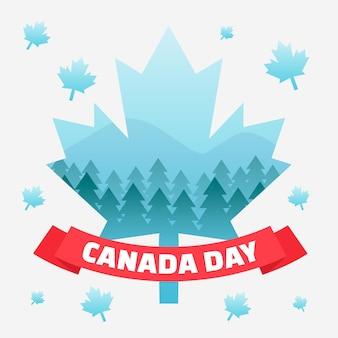 День канады с кленовым листом и деревьями