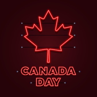 Canada day with neon maple leaf