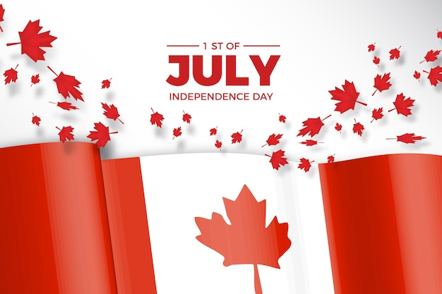 Canada day with realistic flag and maple leaves