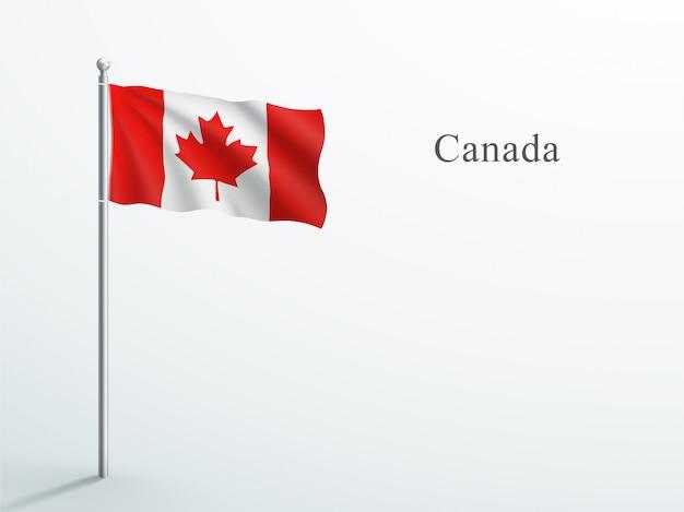 캐나다 국기 강철 깃대에 흔들며 3d 요소